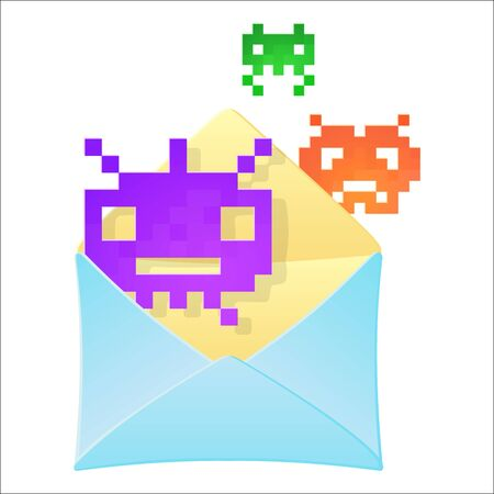 Envelope with retro pixel monsters. Hacker attack, fraud, e-mail spam, malware, computer virus concept. Colourful vector illustration isolated on white background