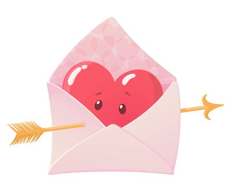 Envelope with heart and arrow. Cute heart character. Art design for Valentine's Day, wedding, greeting card. Love concept. Colourful vector illustration isolated on white background Ilustrace