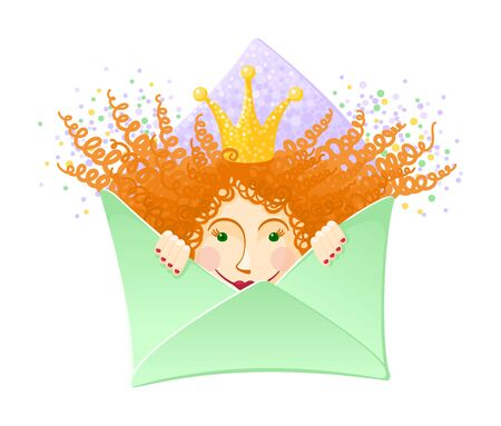 Cute ginger princess girl in the envelope. Letter mailing concept. Design for invitation or greeting card. Colourful vector illustration isolated on white background