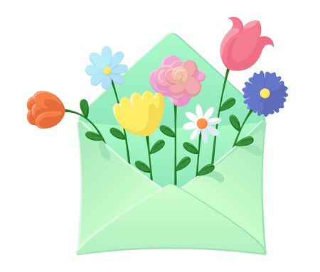 Envelope with wild flowers inside. Lovely cute flower bouquet. Spring and summer holidays concept. Design for invitation or greeting card. Colourful vector illustration isolated on white background