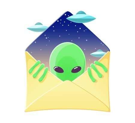 Envelope with funny alien and flying saucers inside. Cartoon humanoid character. Conspiracy and mysterious concept. Design for invitation or greeting card. Colourful vector illustration isolated on white background