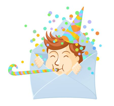 Envelope with happy boy in a hat and with a pipe. Cute cartoon character. Birthday and other holidays concept. Design for invitation or greeting card. Colourful vector illustration isolated on white background Ilustrace