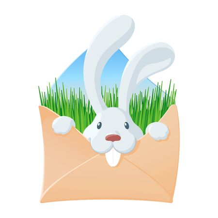 Envelope with white rabbit and green grass inside. Cute cartoon character. Easter and other holidays concept. Design for invitation or greeting card. Colourful vector illustration isolated on white background Ilustrace