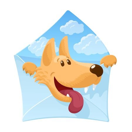 Envelope with a cheerful dog inside. Cute cartoon character. Sky with clouds background. Strong friendship concept. Veterinary concept. Colourful vector illustration isolated on white background