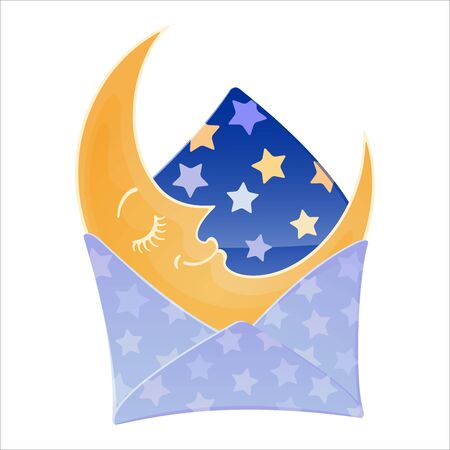 Envelope with a sleeping moon inside. Cute cartoon character. Starlight Night. Sweet dreams concept. Colourful vector illustration isolated on white background