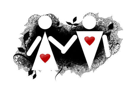 A silhouette of two loved man and woman at white background Stock Photo - 3766305