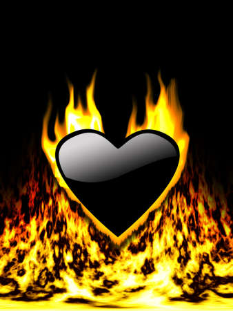 heart burn: Black Heart in Fire at black background