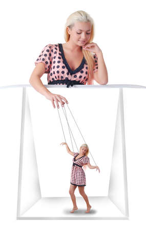 woman with little marionette on string at white background photo
