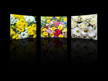 composition of three floral pictures of on black background photo