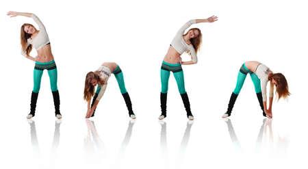 Beautiful young sports women doing gymnastics exercises photo
