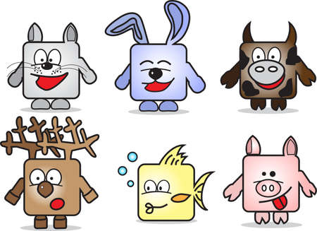 Abstract four cartoon square animals at white background Vector