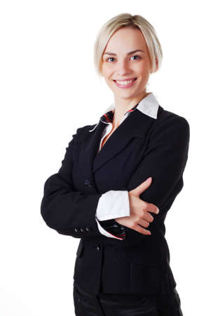 beautiful blond woman in business suit on white background  photo