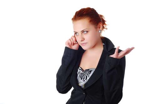 reb: mujer de negocios en un traje negro con reb tel�fono m�vil