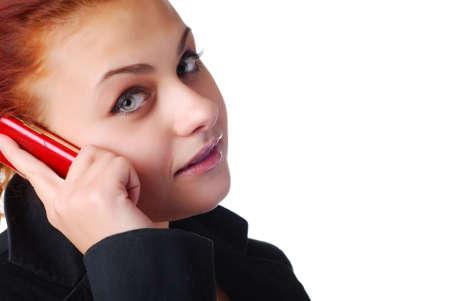 reb: mujer en una chaqueta negro reb con tel�fono m�vil Foto de archivo