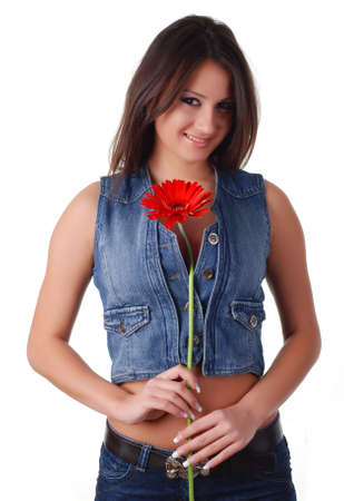portrait of a beautiful woman with red flower photo