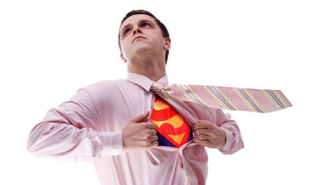 young attractive superhero at white background Stock Photo