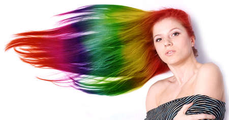 portraot of a beautiful woman with long color hair Stock Photo