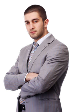 portrait of a young business man in grey suit  photo