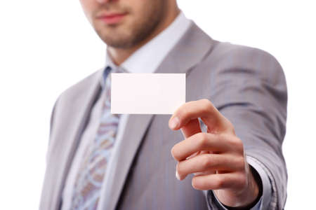 portrait of a young business man with white card photo