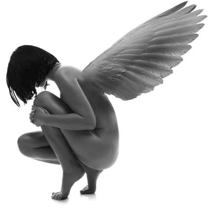 joven desnudo: Mujer de belleza joven desnudo con alas en fondo blanco