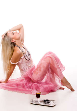 young luxurious blond woman in pink dress with  Stock Photo - 7616487