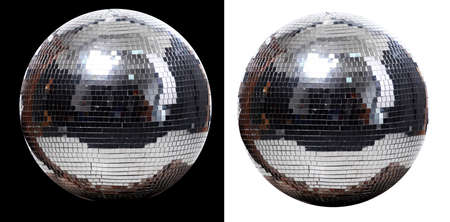 picture of two disco ball at black and white  background