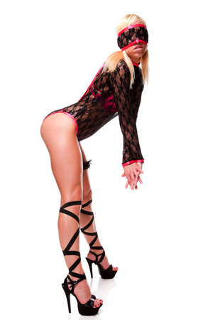 garter: young beautiful woman in black lace lingerie