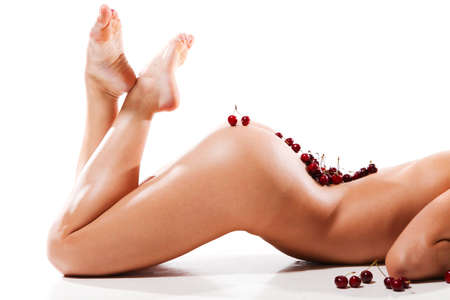 nude lady: beautiful nude woman with fresh cherry on her body Stock Photo