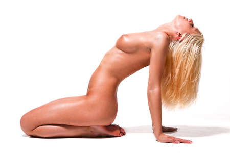 nude blond: beautiful naked woman on the white background Stock Photo