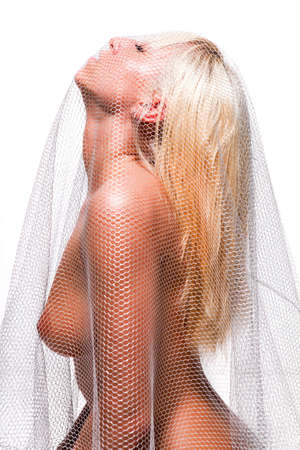 beautiful naked woman with net on her body Stock Photo - 9405963