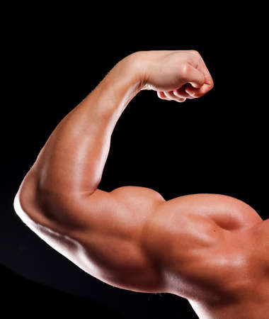 tricep: Hand of young man bodybuilder with biceps