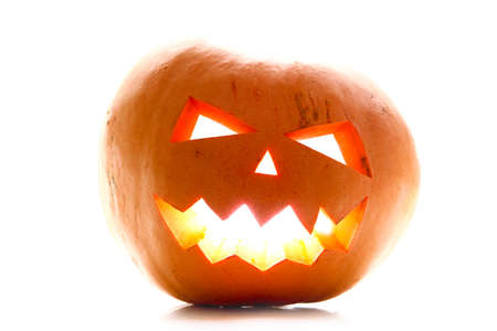 Angry face of helloween pumpkin at white background Stock Photo - 11106279