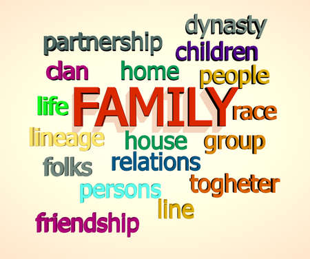Family words on white background photo