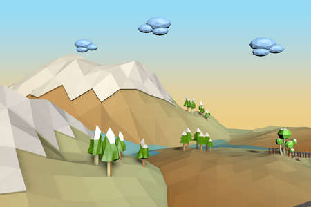 Landscape Low Poly background photo