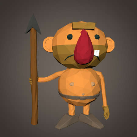 cave dweller: Caveman character low poly isolated on brown background
