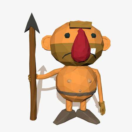 Caveman character low poly isolated on white background photo