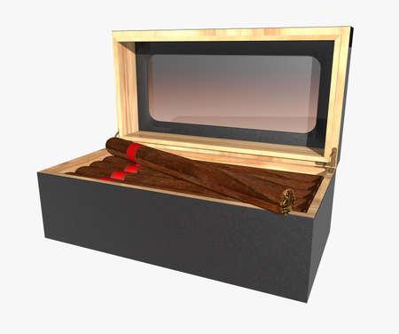 havana cigar: Cigar Humidor isolated on white background