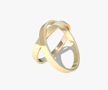 Wedding rings isolated on white background photo