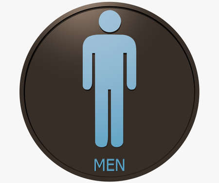 Men toilet sign isolated on white background photo