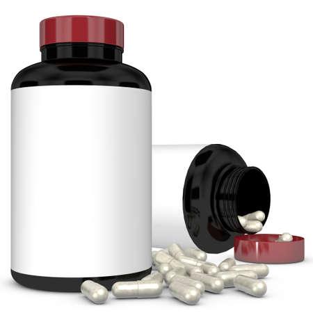 medicate: Plastic bottle on white background.3D Rendering,Illustration