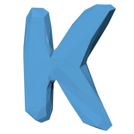 literate: Letter K in Low Poly Style on white background.3D Rendering.Illustration Stock Photo