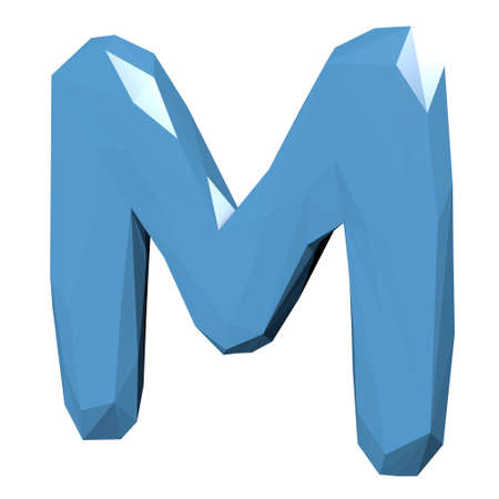 literate: Letter M in Low Poly Style on white background.3D Rendering.Illustration