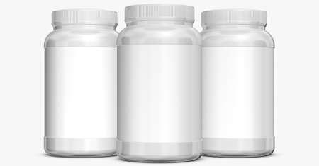 botellas blancas sobre fondo blanco. Foto de archivo