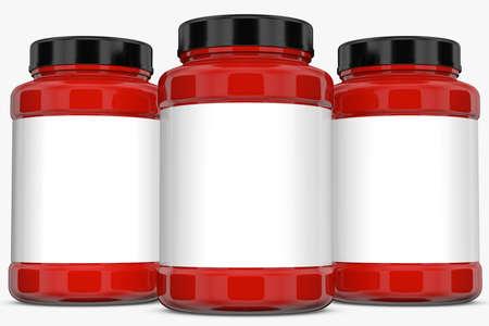 supplement: Supplement bottles on white background.3D Rendering Stock Photo