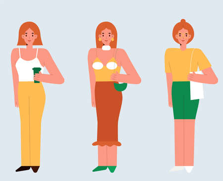 A red-haired young women standing. Set of three beautiful girls in outfits. Simple flat vector illustration. Vektorové ilustrace