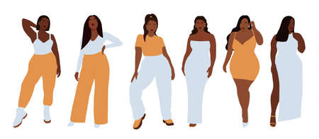 Modern set of black curvy women, great design for any purposes. Beauty fashion female figure. Vector set. Attractive beautiful girl portrait.