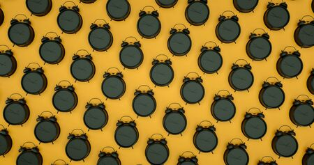 Black alarm clocks in the style of the pattern. Pattern of black alarm clocks on a yellow background. 3d render illustration