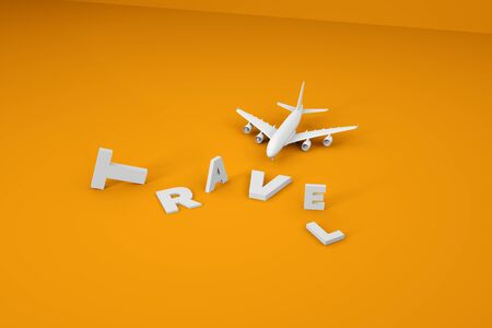 White voluminous letters etched, scattered on a yellow background. White 3D airplane in the style of minimalism. Travel and vacation concept 3d render