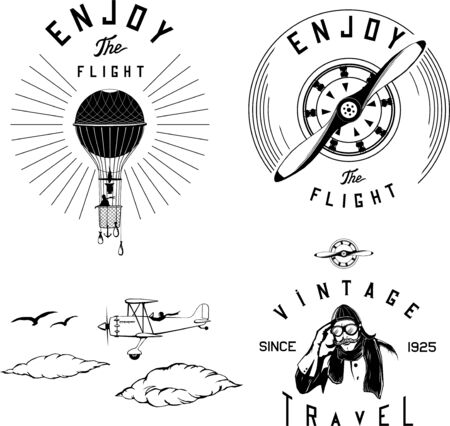 set di logo dell'aviazione nero aereo biplano vintage