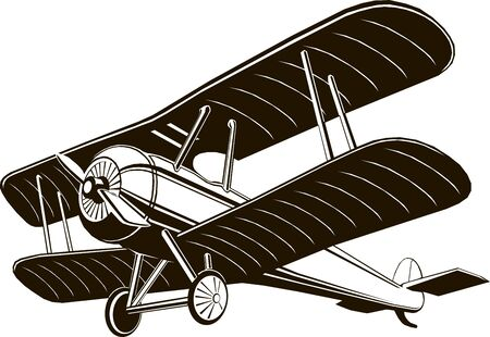 biplane retro airplane monochrome black graphic clip art vector Illustration